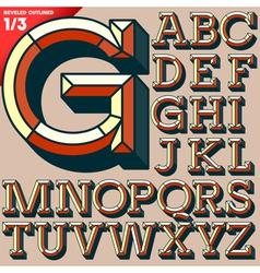 Old school beveled alphabet vector