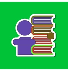 Paper sticker on stylish background schoolboy vector