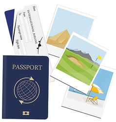 Passport ticket polaroid picture vector image vector image