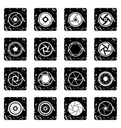 Photo diaphragm icons set vector