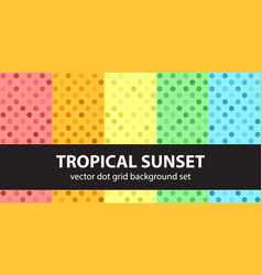 Polka dot pattern set tropical sunset seamless vector
