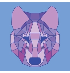 Purple lined low poly wolf vector