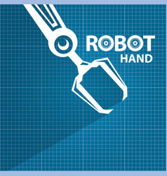 Robotic arm symbol on blueprint paper royalty free vector robotic arm symbol on blueprint paper vector image vector image malvernweather Choice Image