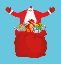 Santa and sack of gifts christmas red bag toys vector