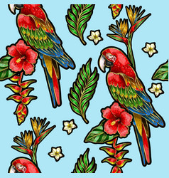 Seamless pattern with ara parrot vector