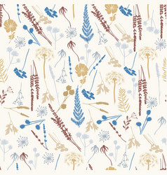 Seamless pattern with wild flowers fern leaves vector