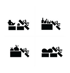 Set black gift icons open food gift box vector