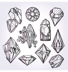 Set of hand drawn crystal gems vector