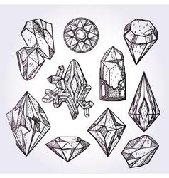 Set of hand drawn crystal gems vector image