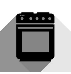 stove sign black icon with two flat gray vector image