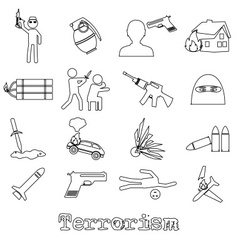 Terrorism theme set of simple outline icon eps10 vector
