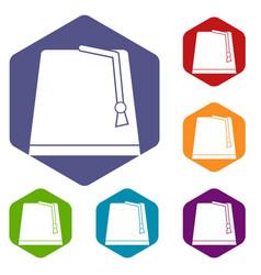 Turkish fez icons set hexagon vector