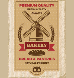 Vintage poster for bakery shop template with vector