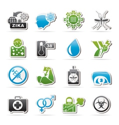 Zika virus pandemic icons vector