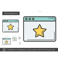 Starred page line icon vector