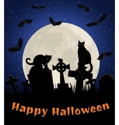 cats in cemetery vector image