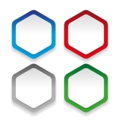 Empty hexagon sticker set vector