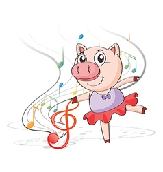 A pig dancing with musical notes vector