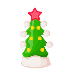 Santa claus hat in form of green christmas tree vector