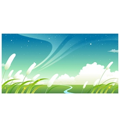 Green landscape with blue sky vector