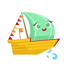 Regatta sailing boat cute girly toy wooden ship vector