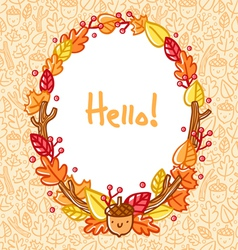 Autumn doodle frame vector image