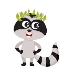 cute little raccoon character champion winner vector image