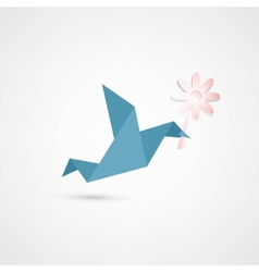 origami bird with flower vector image