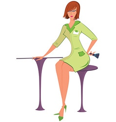 Cartoon woman in green uniform with brush vector