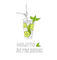 Hand drawn of cocktail mojito vector