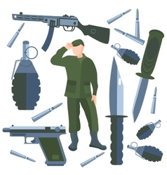 Set isolated weapons soldier weapon knife vector