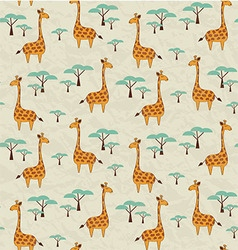 Seamless pattern with cute giraffes and trees vector