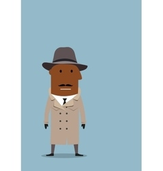 Detective man or spy agent in coat and hat vector