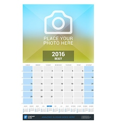 May 2016 wall monthly calendar for 2016 year vector