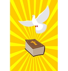 Bible and white dove symbols of christianity pure vector
