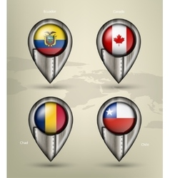 Metal map marker steel with glare and shadows vector