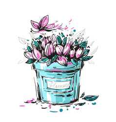 A bouquet of pink flowers with butterfly vector