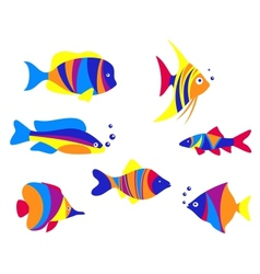 Abstract colorful aquarium fishes vector image vector image