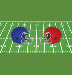 american football helmets in front of field vector image