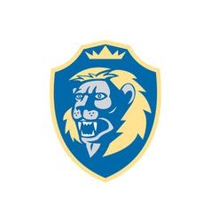 Angry lion head roar shield retro vector