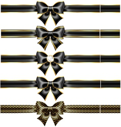 Black bow with gold and ribbons vector image vector image