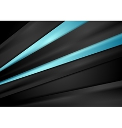 Black tech background with blue smooth stripes vector