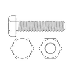 bolt screw outline drawing vector image vector image