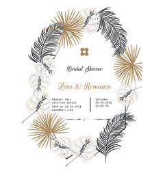 Bridal shower tropic leaves template design vector