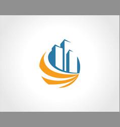 building cityscape round swirl logo vector image vector image