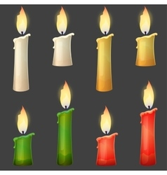 Burning candle collection two sizes vector image