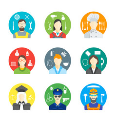 cartoon profession people the avatar in a circle vector image vector image