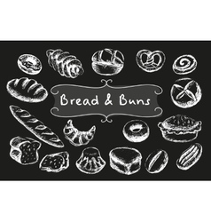 Chalk bakery food set vector