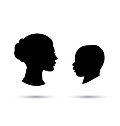 child and mother silhouette vector image