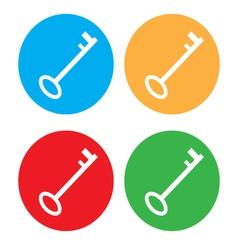 Colored key icon set vector